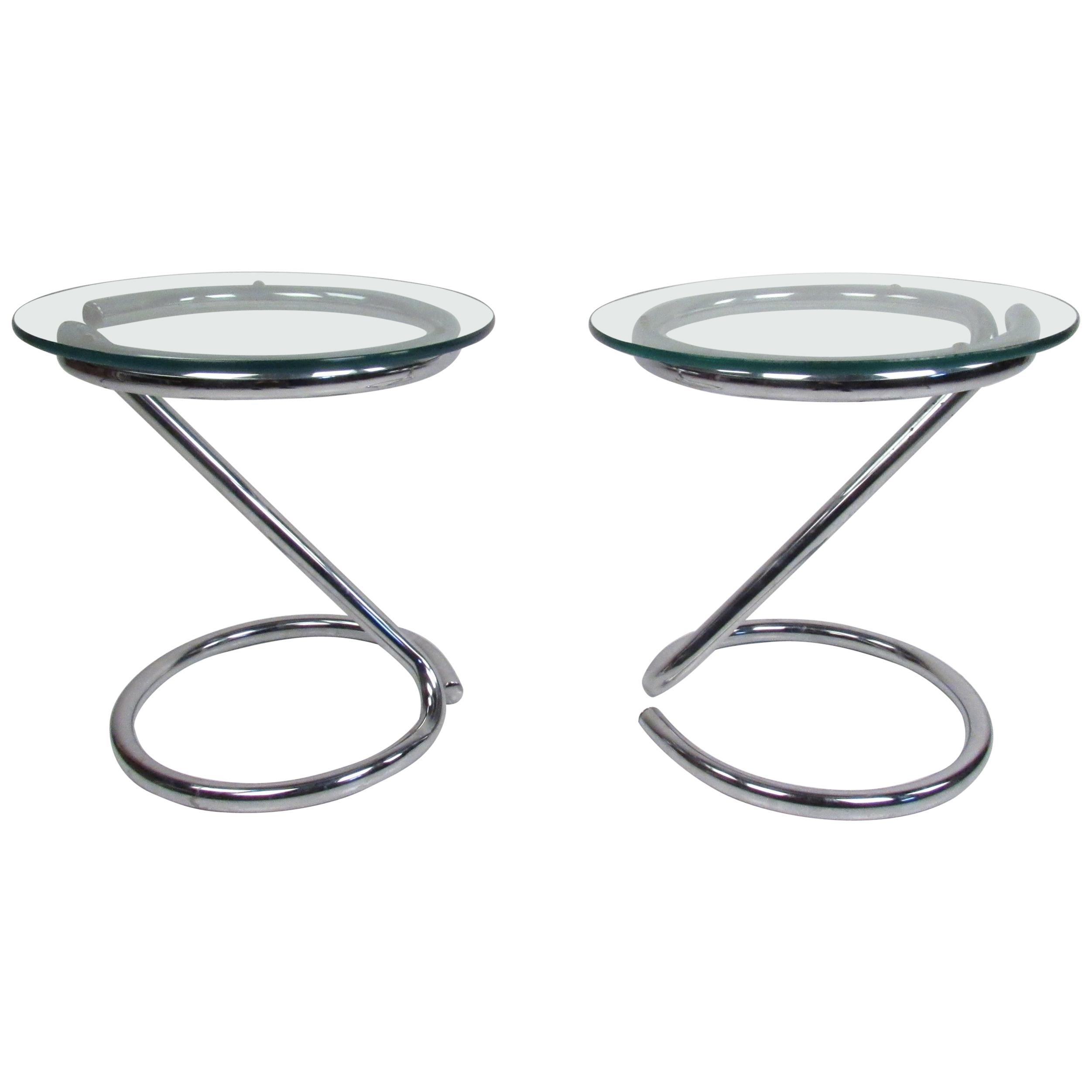 Pair of Midcentury Cantilever Chrome End Tables