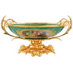 French 19th Century Louis XVI Style Ormolu and Sèvres Porcelain Centerpiece