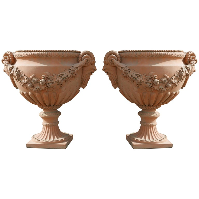Pair of Italian Neoclassical Style Terracotta Planters For Sale