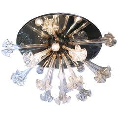 Italian Murano Floral Glass Flush Mount Chandelier