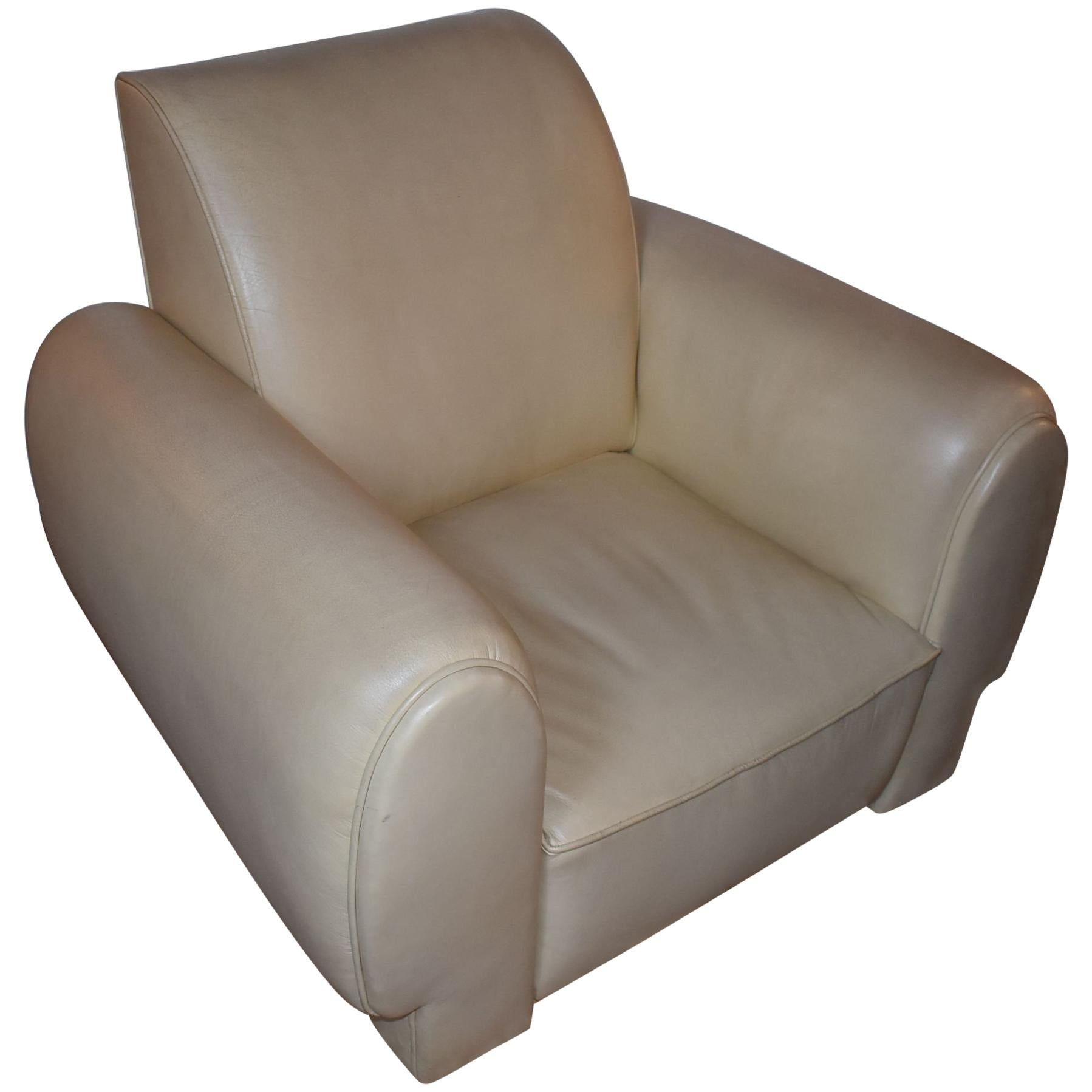 Pair of Leather Club Armchairs in the Style of Paul Dupre-Lafon
