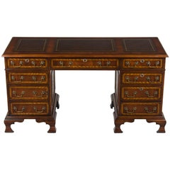 Narrow Leather Top Pedestal Desk Credenza with File Drawer and Computer Cabinet
