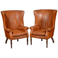 Pair of Classic High Back Saddle Leather Wing Back Fireplace or Parlour Chairs