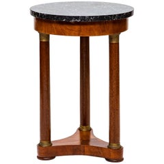 French Empire Small Marble Top Side Table