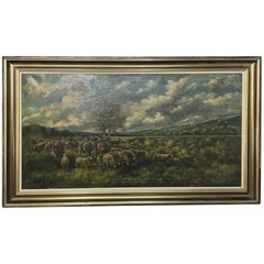 Grand Framed Oil Painting on Canvas by G. Schouten