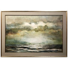 Midcentury Framed Oil Painting on Canvas by R. Bekaert