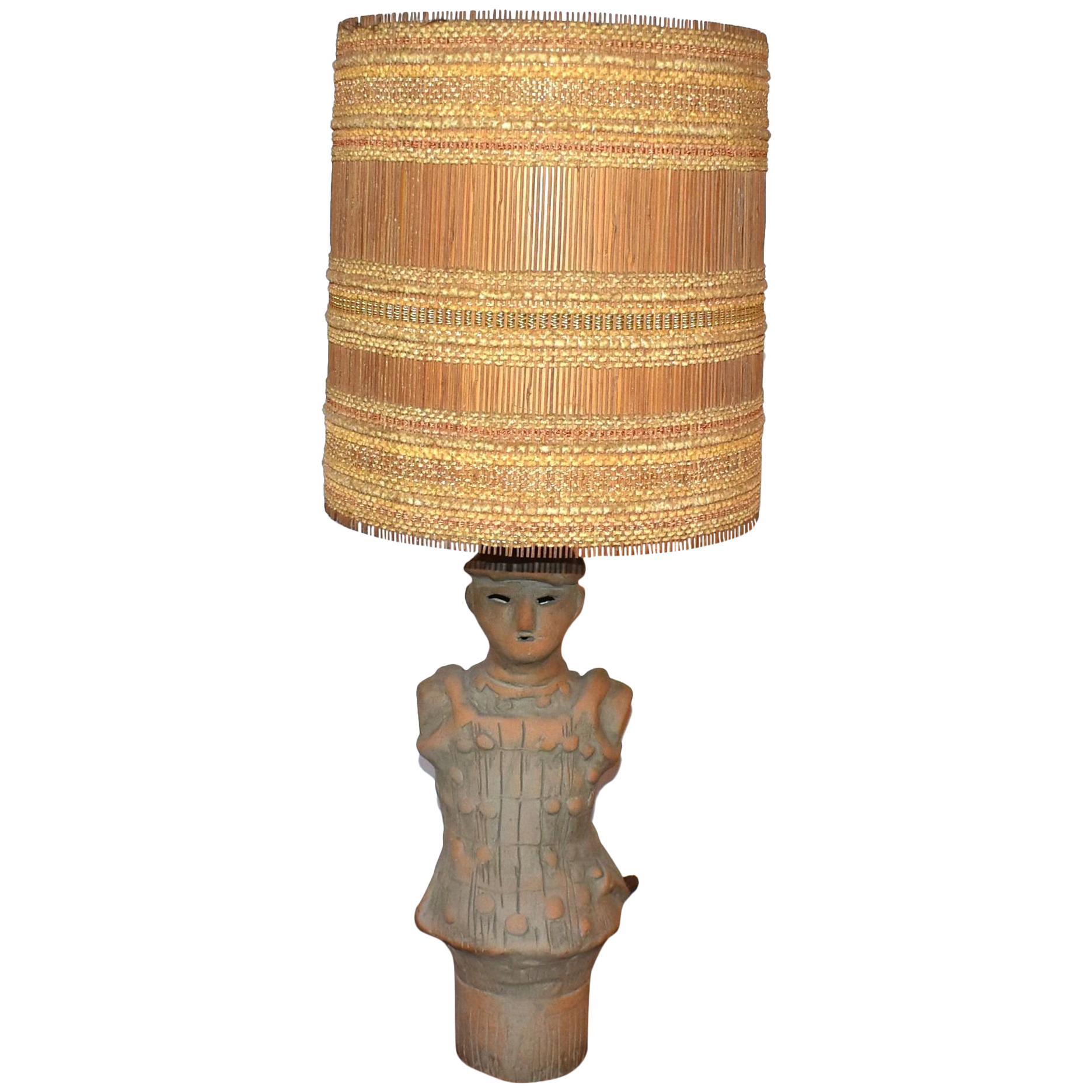 1950s Ceramic Lamp with Maria Kipp Original Shade