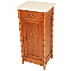 Faux Bamboo Marble-Top Occasional Cabinet