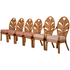Set of Six Mid-Century Modern Rattan Dining Chairs, 1970s