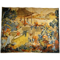 19th Century Large Chinoiserie Tapestry from France, Tones of Orange, Blue, Gold