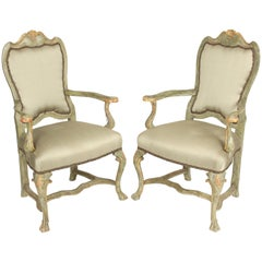 Pair of Continental Louis XV Style Painted Armchairs