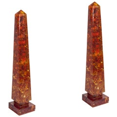 Pair of Tall Crushed Ice Resin Obelisks by Marie-Claude de Fouquières