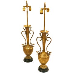 Striking Pair of Brass Hammered Antique Moroccan Table Lamps