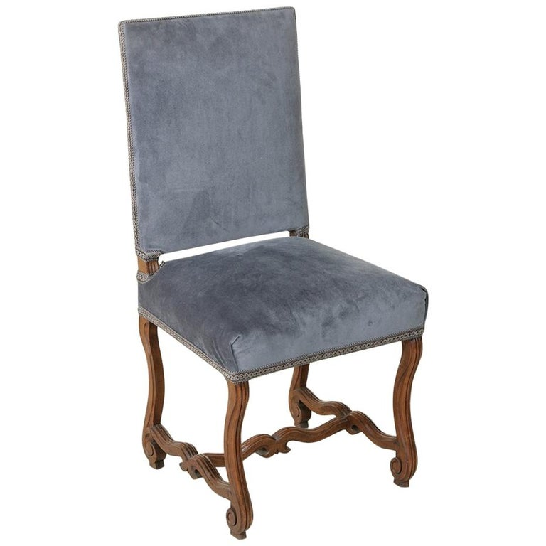 19th Century French Hand Carved Walnut Fluted Mutton Leg Side Chair, Desk Chair For Sale