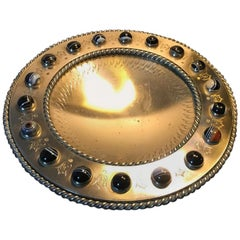 Bronze Tazza with Scottish Agate Cabochons at the Rim