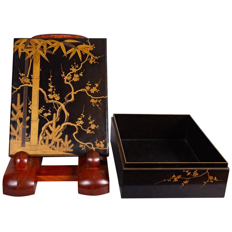 Antique Japanese Lacquer Box with Plumb, Bamboo, and Pine For Sale