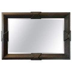 Moroccan Style Wood Large Beveled Mirror Carved Wood Frame