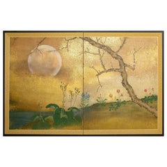Japanese Two-Panel Screen Cherry Tree and Flowers in the Moonlight