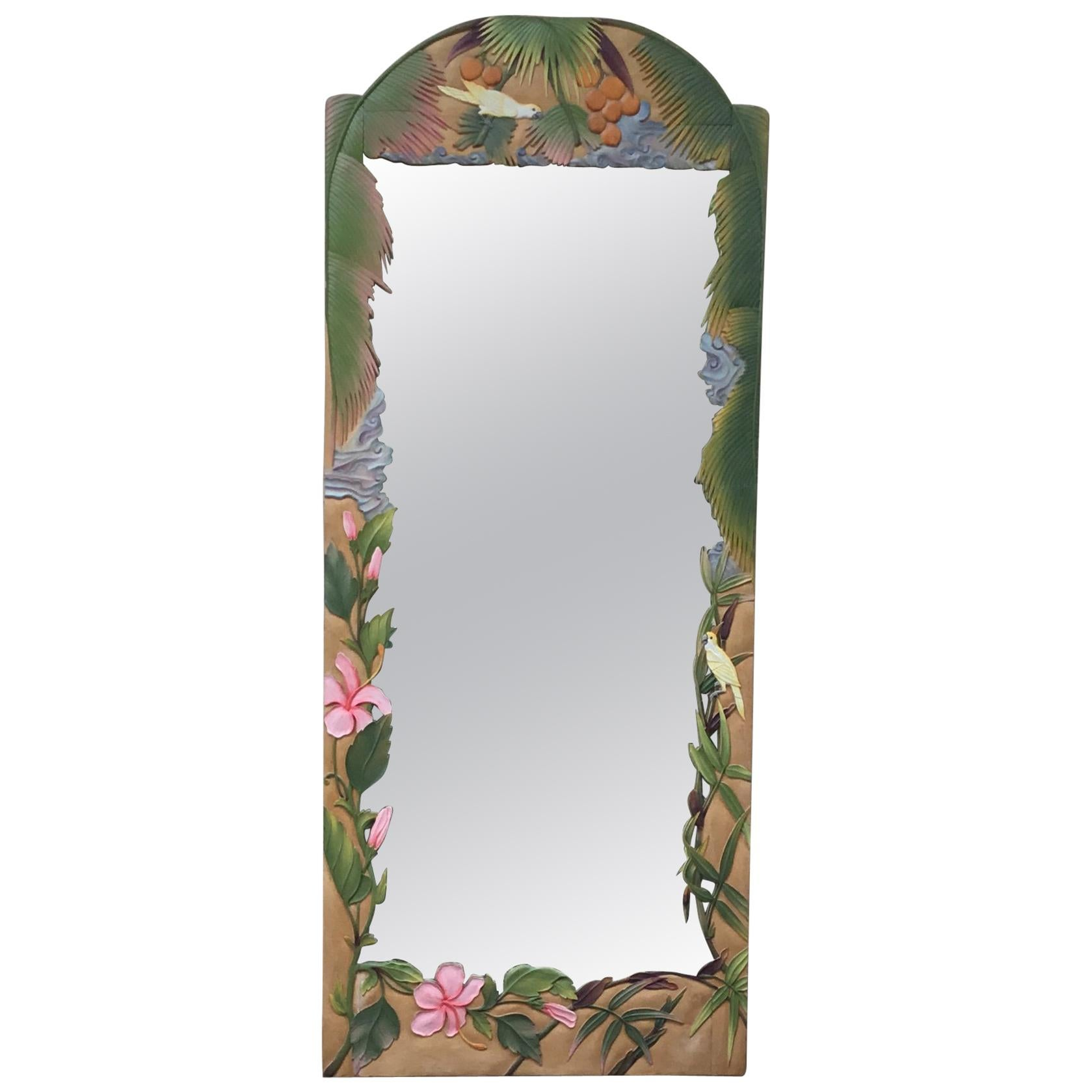 Hand Carved Wood Full Length Wall Mirror