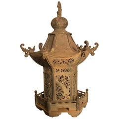 "Japanese Tall Antique Bronze ""Birds of Paradise"" Lantern Pagoda Form Fine Detail"