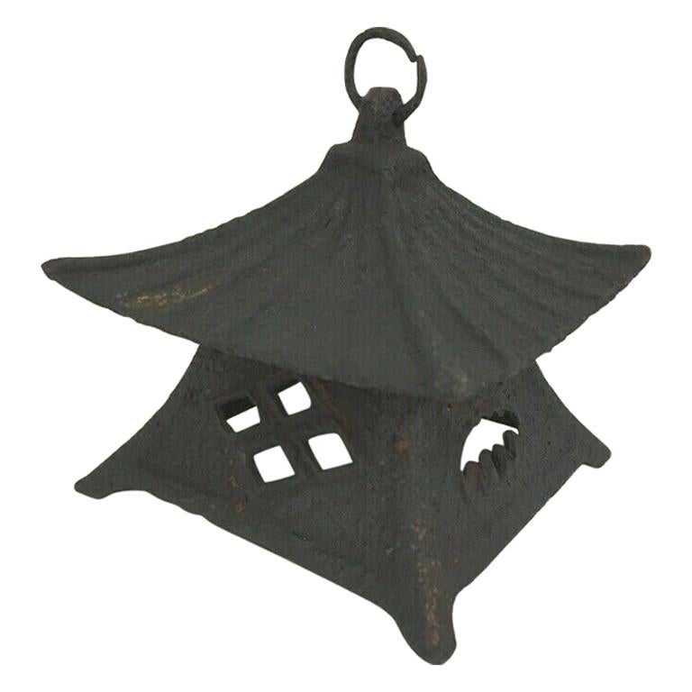 Japanese Large Antique Tea House Lantern and Wind Chime, Fine Details 150 Years For Sale