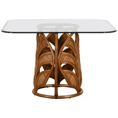 Rattan Mid-Century Modern Pedestal Dining Table, 1970s
