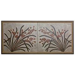 Japanese Two-Panel Screen Lacquer Painting on Canvas of Mirrored Flower Design