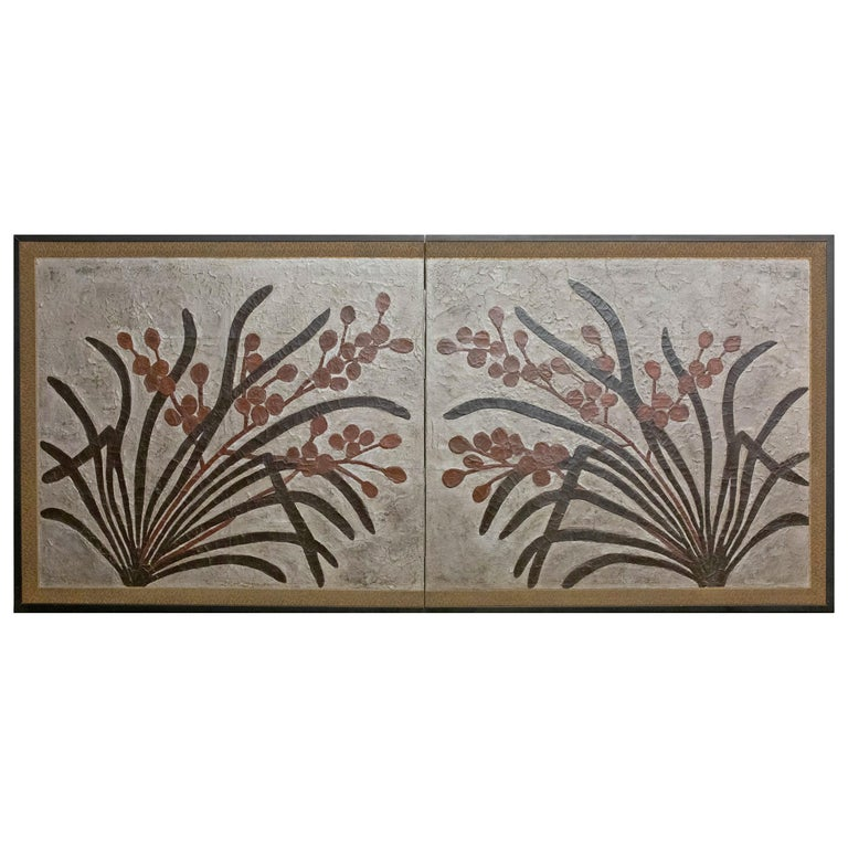 Japanese Two-Panel Screen Lacquer Painting on Canvas of Mirrored Flower Design For Sale