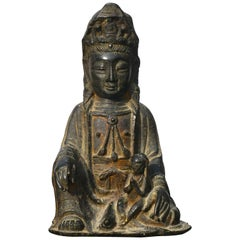 Ming Dynasty Gilt Lacquered Bronze Songzi Guanyin