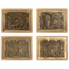 Set of Four Italian 18th Century Engraving Prints Set in 19th Century Frames