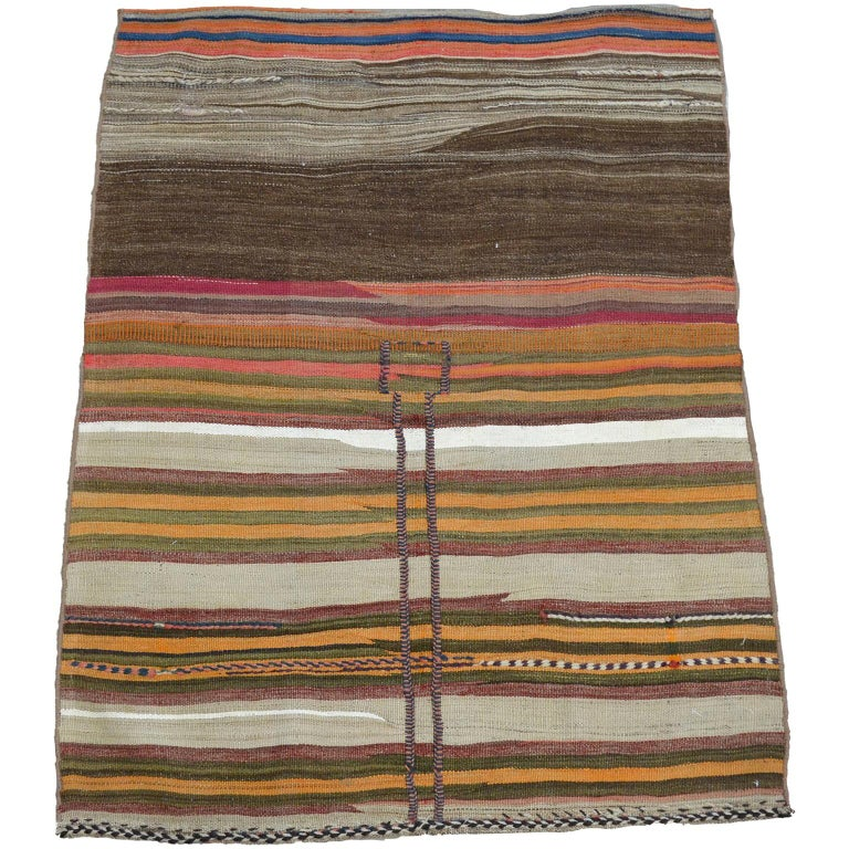 Antique Sofreh Flat-Weave Carpet with Kilim and Soumak Weave in Pure Wool For Sale