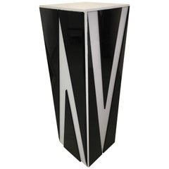Postmodern Black and Gray Lucite Pedestal with Chevron Detail, circa 1980