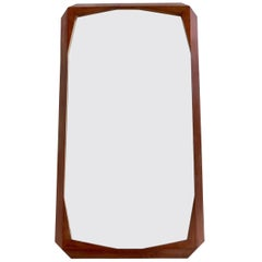 Italian Carved Faceted Walnut Framed Wood Wall Mirror Attributed to Ico Parisi