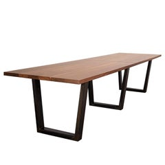 """Custom """"Taper"""" Conference Table with Solid Wood Top and Metal Base"""