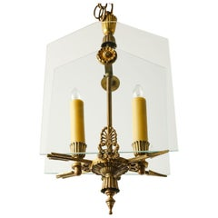 French Classic Brass and Glass Mid Century Chandelier