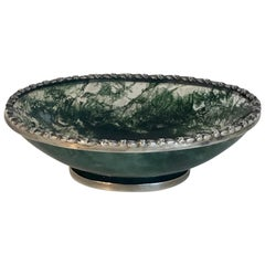 Exquisite Moss Agate Silver Mounted Pedestal Bowl