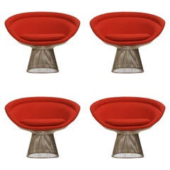 Warren Platner for Knoll Lounge Chairs in Red Wool Boucle, Near Mint Set of Four
