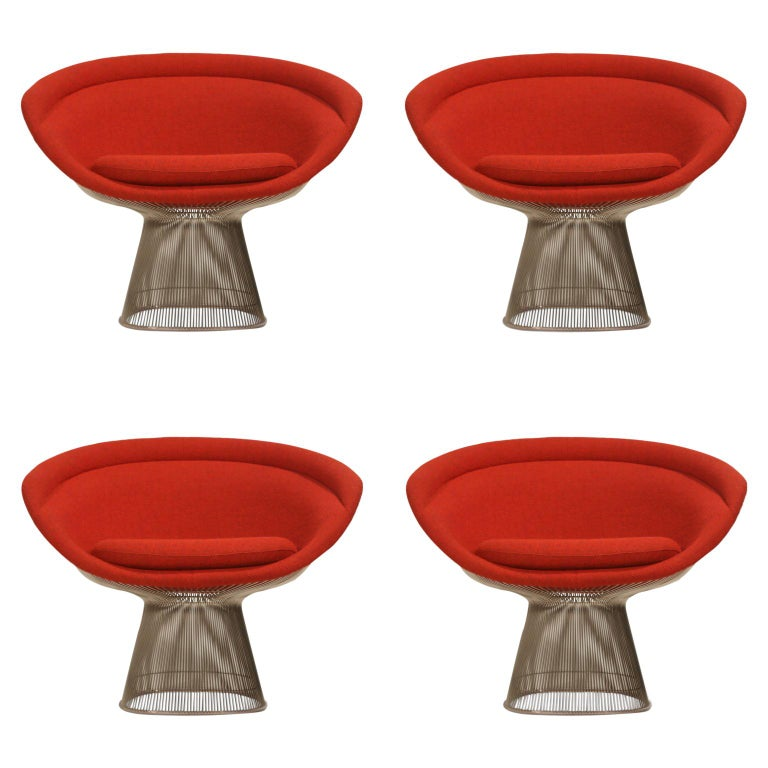 Warren Platner for Knoll Lounge Chairs in Red Wool Boucle, Near Mint Set of Four For Sale