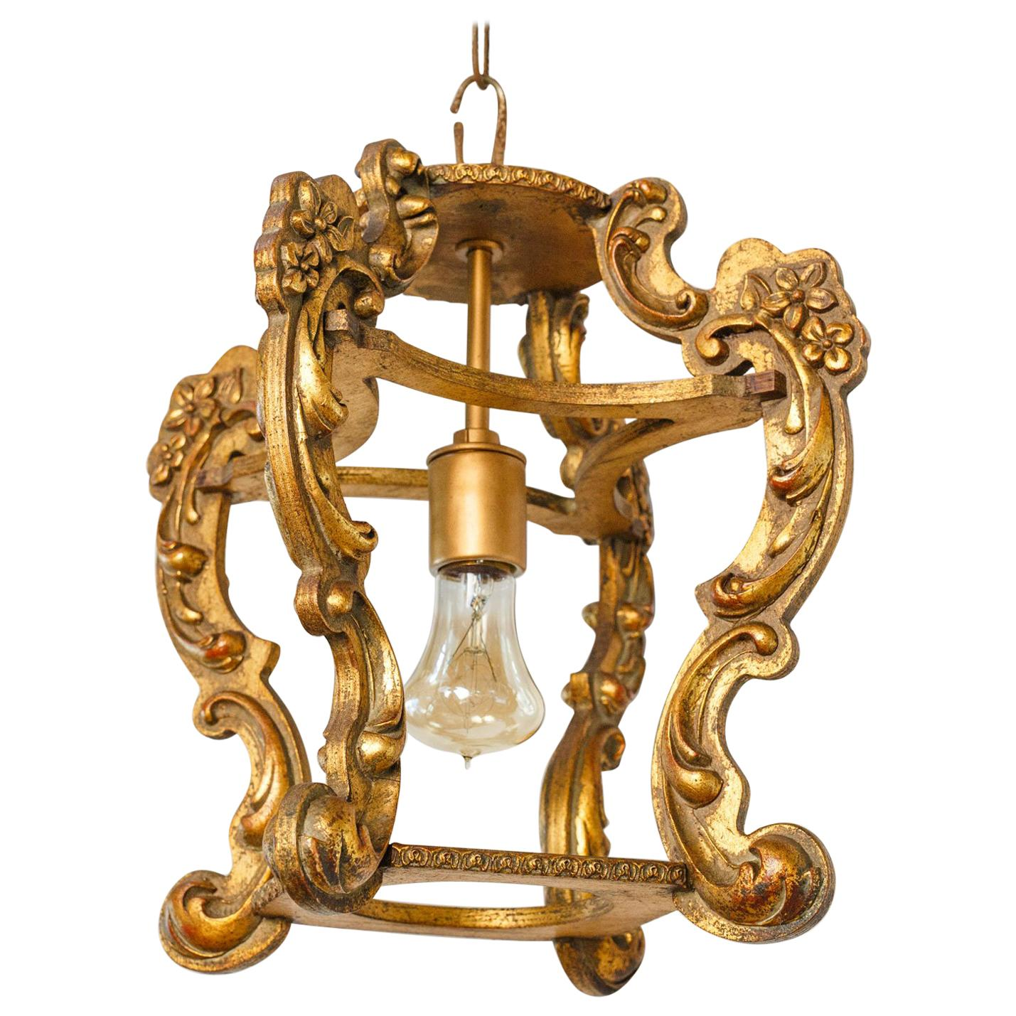 Hand Carved Giltwood Italian Lantern