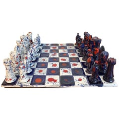1970s Psychedelic Studio Pottery Chess Set