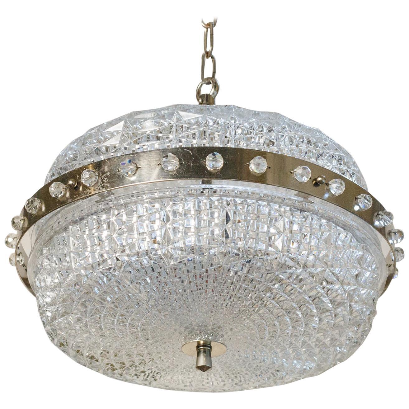 Extraordinary Mid-Century Modern Swedish Pressed Glass Pendant with brass detail