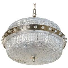 Extraordinary Mid-Century Modern Swedish Pressed Glass Pendant