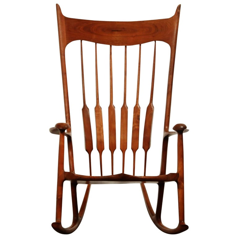 Large Scale Sam Maloof Style Studio Craftsman Rocking Chair, Signed and Dated For Sale