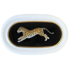 Black and Gold Leopard Cat Jewelry or Trinket Box, circa 1980s