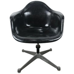 Rare Black Fiberglass Tilt Swivel Arm Shell, Aluminium Base DAT by Charles Eames