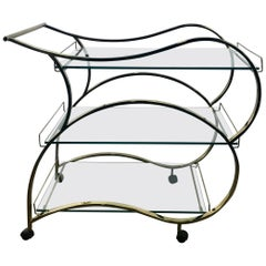 Stunning Brass and Glass Modernist Tea or Bar Cart