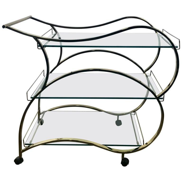 Stunning Brass and Glass Modernist Tea or Bar Cart For Sale