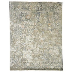 Transitional Area Rug with Oushak Pattern and Chinoiserie Style