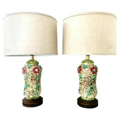 Mid-20th Century Pair of Ceramic Glaze and Gilt Brass Floral Table Lamps