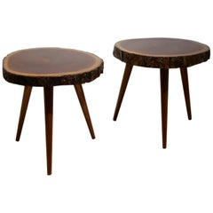 Pair of Midcentury 'Panamaribo' Massive Mahogany Wood Trunk Tripod Side Table